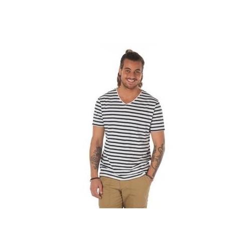 Tee-shirt rayé marin col V homme