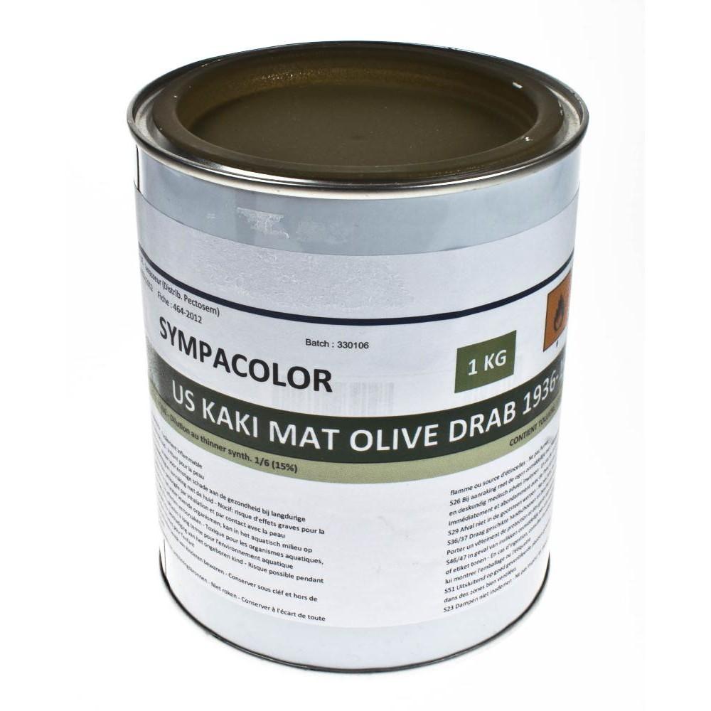 Pot de peinture 1kg us kaki mat olive drab 1936 1944 surplus le casque bleu for Peinture vert kaki