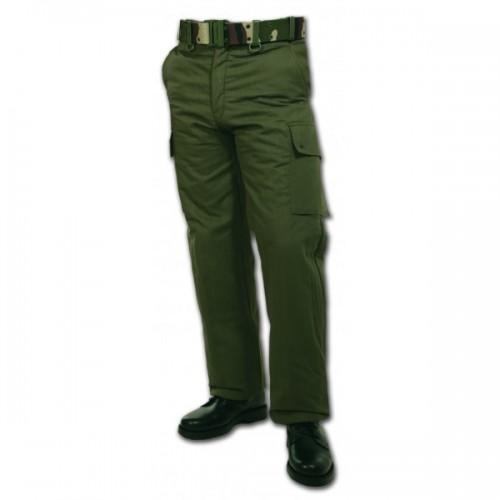 Pantalon treillis doublé polaire vert armée