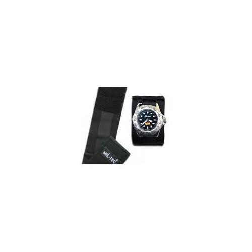 Bracelet noir montre commando avec rabat de protection