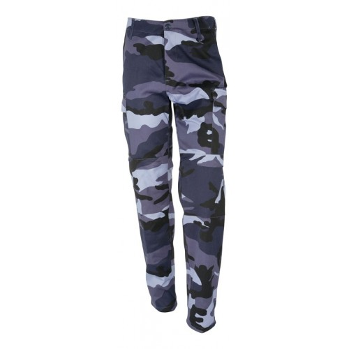 Pantalon BDU type US camouflage urbain bleu