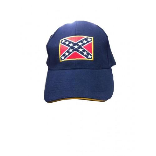 Casquette bleu marine drapeau confédéré