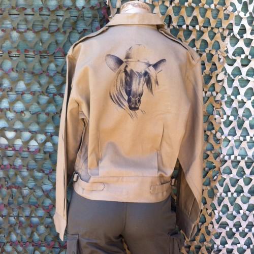 Veste authentique australienne beige customisée