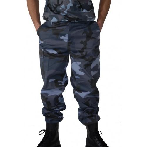 Pantalon de treillis militaire type US camouflage urbain bleu