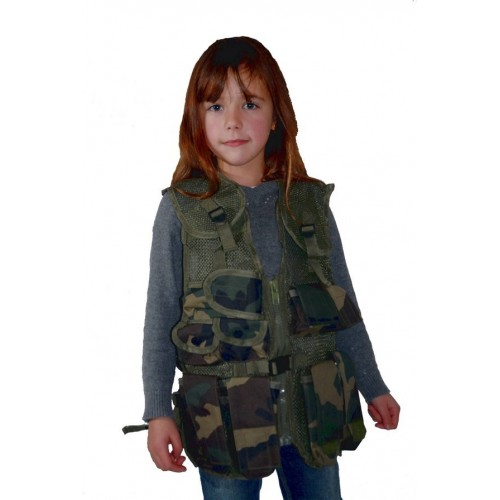 Gilet tactique enfant camouflage woodland.