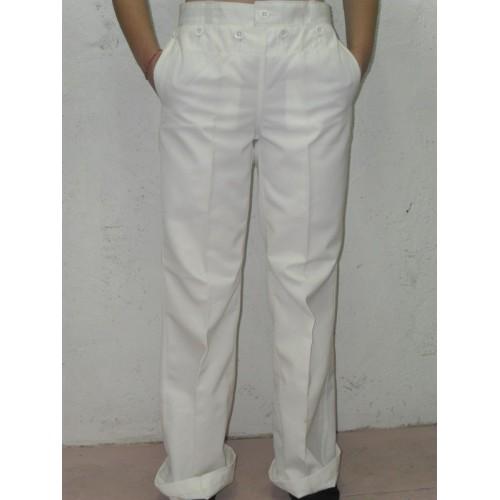 Lot de pantalon blanc à pont marine (x 10 pièces)