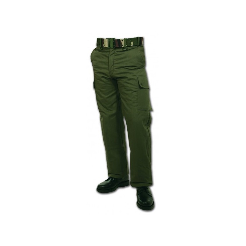 Pantalon doublé polaire vert armée